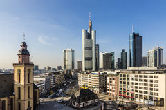 Frankfurt with Hauptwache. FRANKFURT AM MAIN, GERMANY - MAR 3, 2015: Aerial view of Frankfurt with Hauptwachen. The Hauptwache is a central point and one of the Stock Images