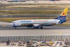 Frankfurt hesse/Tyskland - 25 06 18: för el-gouna för sol uttryckligt flygplan på frankfurterkorvflygplatsen Tyskland Arkivbilder