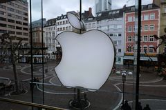 Apple Store Logo in Frankfurt stock images