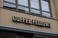 Coffee Fellows Shop Logo in Frankfurt stock image