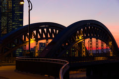 Frankfurt Honsellbrücke Night scene with office buildings Royalty Free Stock Photos
