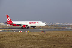 Frankfurt International Airport – Air Berlin Airbus A321 takes off Royalty Free Stock Images
