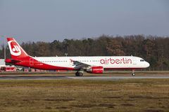 Frankfurt International Airport – Air Berlin Airbus A321 takes off Royalty Free Stock Photography
