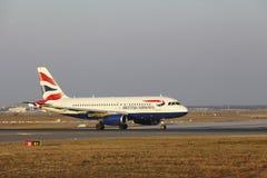 Frankfurt International Airport – British Airways Airbus A319 takes off Stock Photo