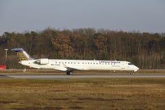 Frankfurt International Airport – Lufthansa CityLine Canadair 900 takes off Royalty Free Stock Photos