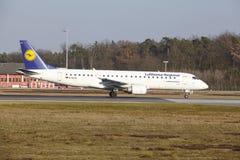 Frankfurt International Airport – Lufthansa CityLine Embraer 190 takes off Stock Image