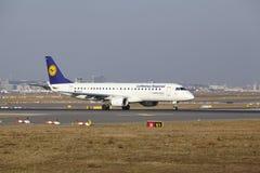 Frankfurt International Airport – Lufthansa CityLine Embraer 190 takes off Stock Images