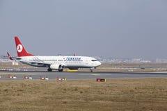 Frankfurt International Airport – Turkish Airlines Boeing 737 takes off Royalty Free Stock Image