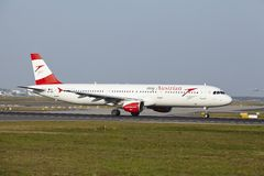 Frankfurt International Airport - Airbus A321 of Austrian Airlines takes off Stock Images