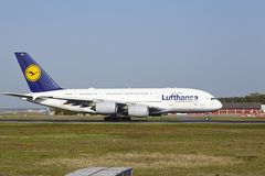Frankfurt International Airport - Airbus A380 of Lufthansa takes off Stock Photography
