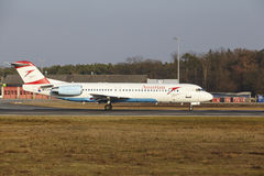 Frankfurt International Airport – Austrian Airlines Fokker 100 takes off Royalty Free Stock Images