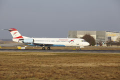 Frankfurt International Airport – Austrian Airlines Fokker 100 takes off Royalty Free Stock Photo