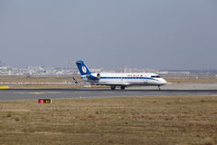 Frankfurt International Airport – Belavia Canadair 100 takes off Royalty Free Stock Photography