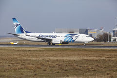 Frankfurt International Airport – Egyptair Boeing 737 takes off Stock Photos