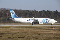Frankfurt International Airport – Egyptair Boeing 737 takes off Royalty Free Stock Image