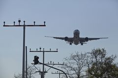 Frankfurt International Airport (Germany) - Landing approach Royalty Free Stock Image
