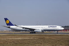 Frankfurt International Airport – Lufthansa Airbus A330 takes off Stock Photo
