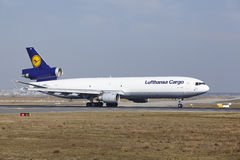 Frankfurt International Airport – Lufthansa Cargo MD-11F takes off Stock Images