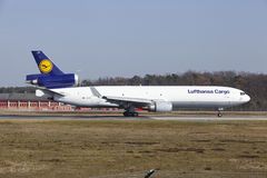Frankfurt International Airport – Lufthansa Cargo MD-11F takes off Stock Photos