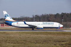 Frankfurt International Airport – SunExpress Boeing 737 takes off Royalty Free Stock Photo