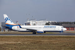 Frankfurt International Airport – SunExpress Boeing 737 takes off Royalty Free Stock Image
