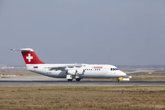 Frankfurt International Airport – Swiss Avro RJ100 takes off Royalty Free Stock Photo