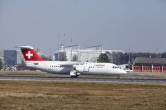 Frankfurt International Airport – Swiss Avro RJ100 takes off Stock Images