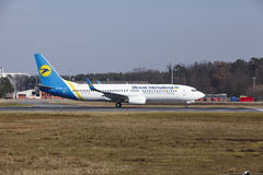 Frankfurt International Airport – Ukraine International Airlines Boeing 737 takes off Stock Photos