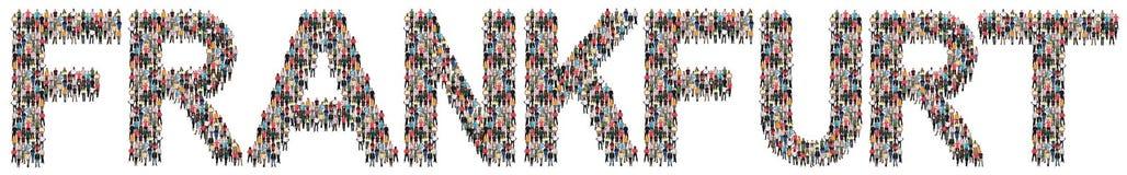 Frankfurt mång- folkgrupp av folk arkivbild