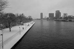 Frankfurt magistrala na śnieżnym dniu obraz stock