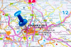Frankfurt - Am - magistrala na mapie zdjęcie royalty free