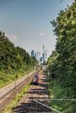 Frankfurt - Am - magistrala niemiec finanse miasto w odległości, zdjęcia stock