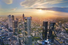 Frankfurt am Main. Aerial view of Frankfurt am Main skyline during golden hour royalty free stock image