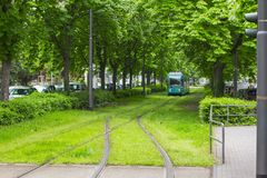 Frankfurt-am-Main, Alemania 28 de abril de 2019 Hamburguesa Allee línea de la tranvía a lo largo del callejón verde imagenes de archivo