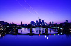 Frankfurt am Main. Amazing view of Frankfurt am Main at sunset royalty free stock photos
