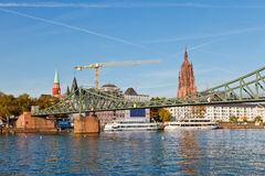 Frankfurt am main, bridge across Main river Stock Image