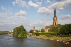 Frankfurt am Main: church on the river - Germany Royalty Free Stock Photography