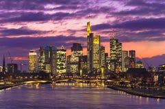 Frankfurt am Main city skyline. Night view Stock Photo