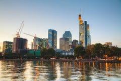 Frankfurt am Main cityscape at sunset Stock Image