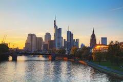 Frankfurt am Main cityscape at sunset Stock Images