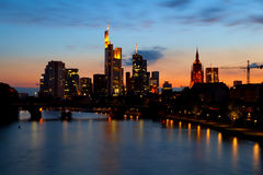 Frankfurt am Main cityscape at sunset Royalty Free Stock Photography