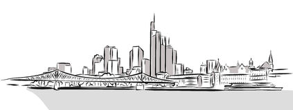 Frankfurt Main Downtown Outline Sketch. Hand Drawn Vector Illustration royalty free illustration