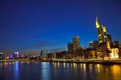 Frankfurt am Main at dusk. View on Frankfurt am Main at dusk, Germany Stock Photo