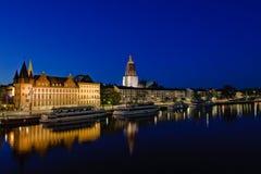 Frankfurt-am-Main en la noche Fotografía de archivo libre de regalías
