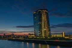 Frankfurt am Main. Frankfurt European Central Bank river at sunset Stock Image