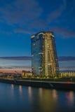 Frankfurt am Main. Frankfurt European Central Bank river at sunset Royalty Free Stock Images