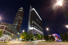 Frankfurt am main fair district at night Royalty Free Stock Photo