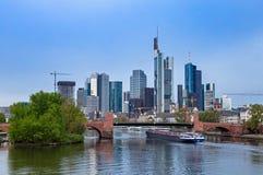 Frankfurt am Main. Frankfurt financial district and Main river Royalty Free Stock Photography