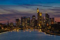 Frankfurt am Main. Frankfurt financial district and Main river at sunset Royalty Free Stock Photo