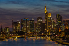 Frankfurt am Main. Frankfurt financial district and Main river at sunset Stock Images